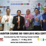 Training Lead Auditor Course ISO 9001:2015 Batch III Sertifikasi IRCA Jakarta, 7 – 11 Mei 2018