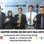 Training Lead Auditor Course ISO 9001:2015 Batch V Sertifikasi IRCA Jakarta, 6 -12 Februari 2019