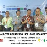 Training Lead Auditor Course ISO 9001:2015 Batch IV Sertifikasi IRCA Jakarta, 17 – 21 September 2018