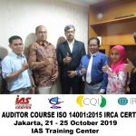 Training Lead Auditor Course ISO 14001:2015 Batch II Sertifikasi IRCA Jakarta, 21 – 25 Oktober 2019
