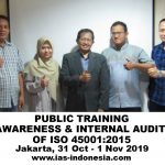 Public Training Awareness & Internal Audit of ISO 9001:2015, Jakarta 31 Okt – 1 Nov 2019