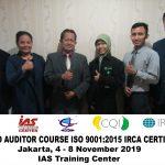 Training Lead Auditor Course ISO 9001:2015 Batch X Sertifikasi IRCA Jakarta, 4 – 8 November 2019